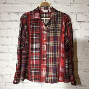 CARLISLE Plaid Silk Blouse sz 6